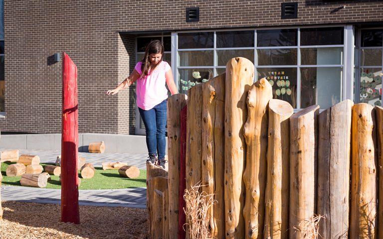 Mills Park playground natural logs