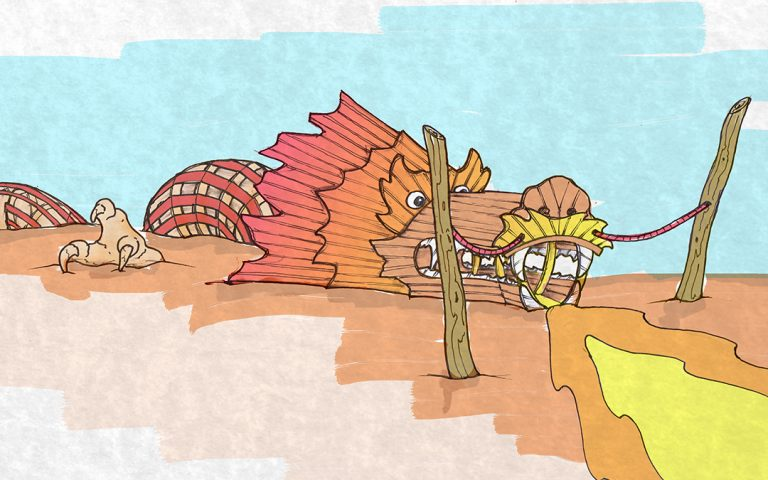california wood playground dragon sculpture sketch
