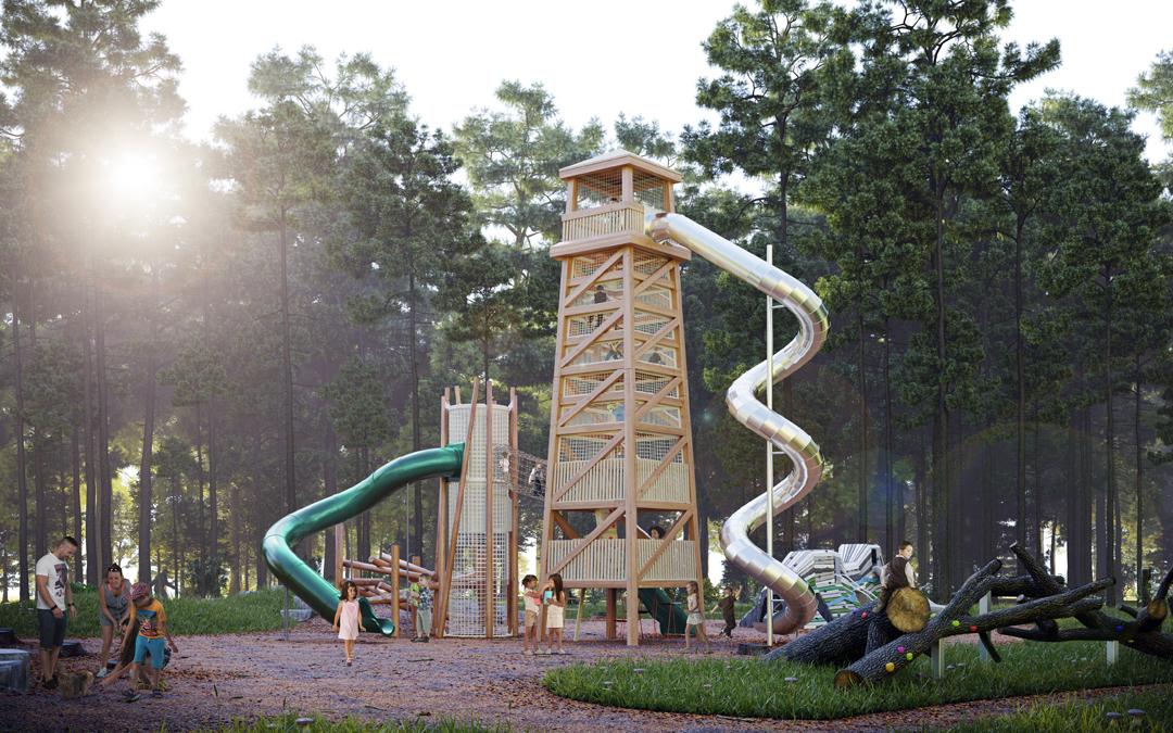 earthscape tall timber tower log jam spiral slide