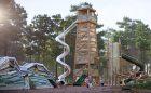 tall timber tower mountain sculpture log tower