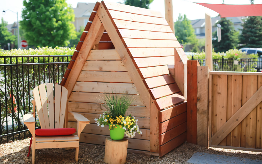 play hut seating day care playground