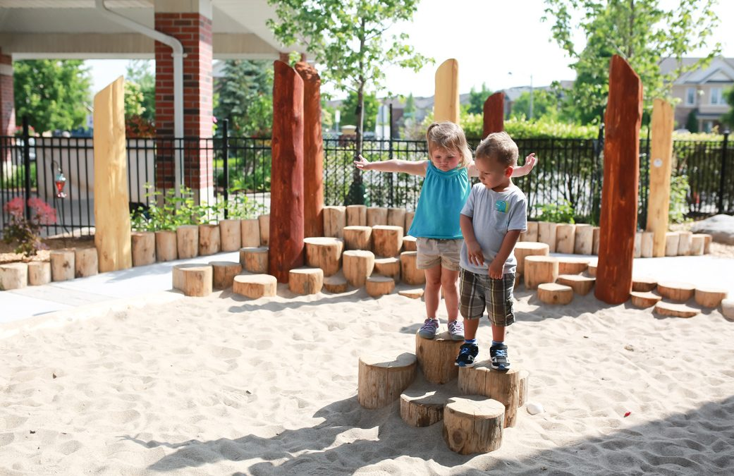 playground natural stumps active daycare