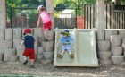play children playground natural hill slide
