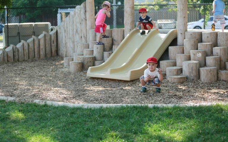 slide hill stepper wood natural play space