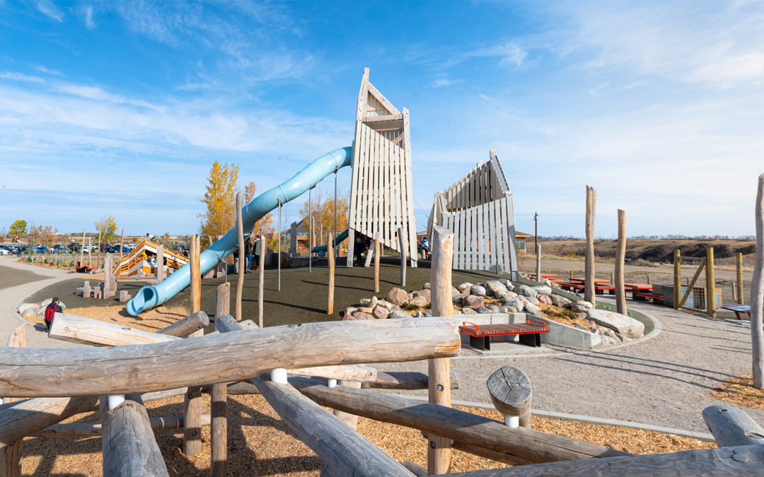 saskatoon saskatchewan natural wood playground log climber towers and tube slide