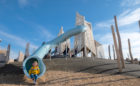 Saskatood Saskatchewan natural playground wood towers tube slide