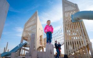 Wanuskewin Heritage Site nature playground wood towers slides net bridge
