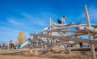 Wanuskewin Heritage Site natural wood playground log climber tube slide