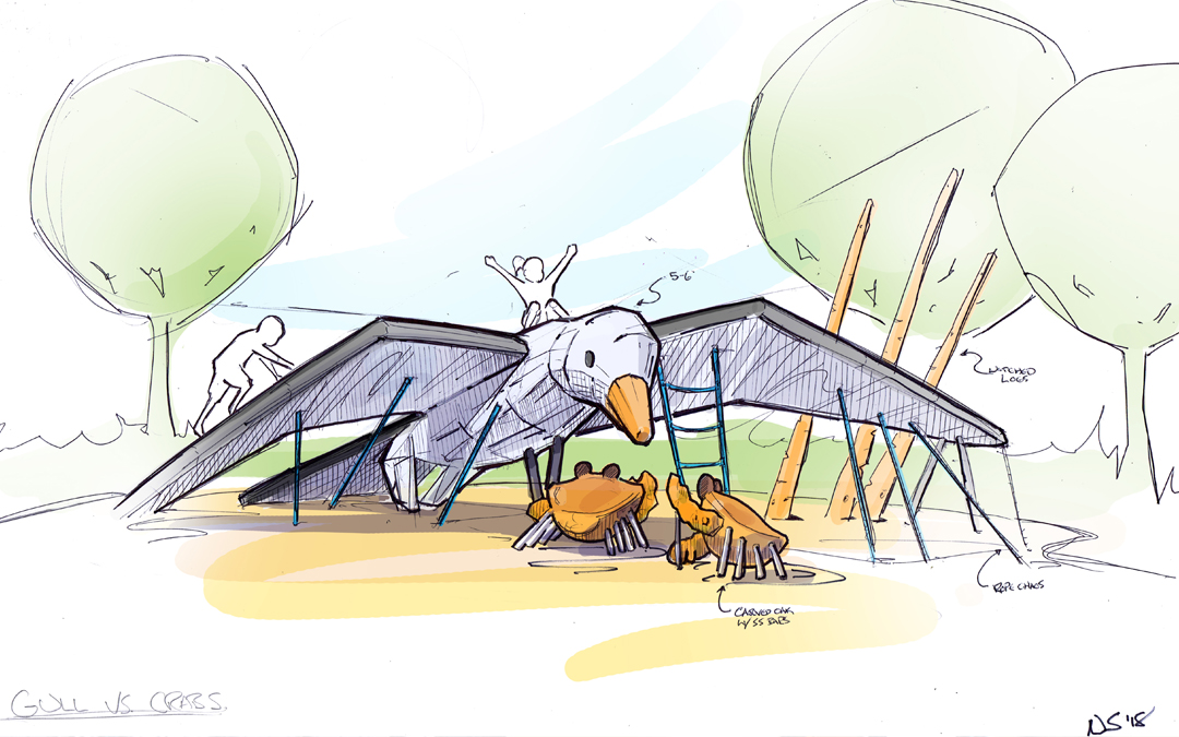 conceptual playground design sketch seagull crabs natural play bird sculpture