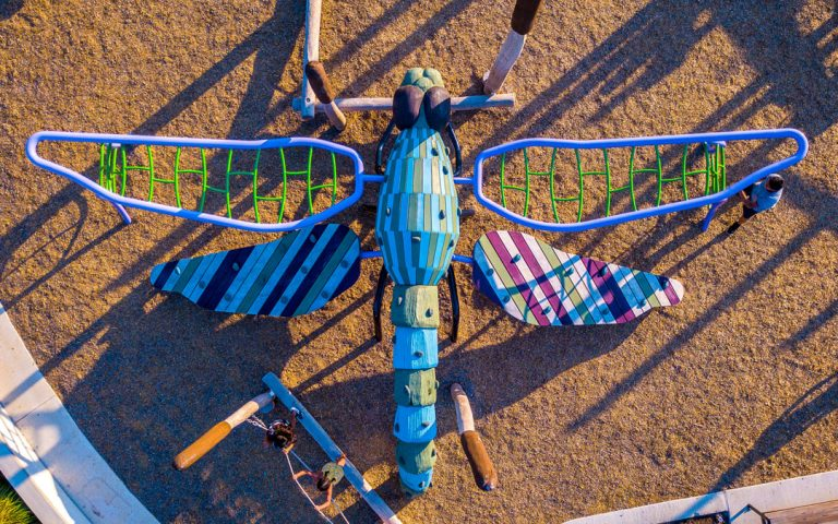 drone playground photography dragonfly sculpture park texas custom wood climber