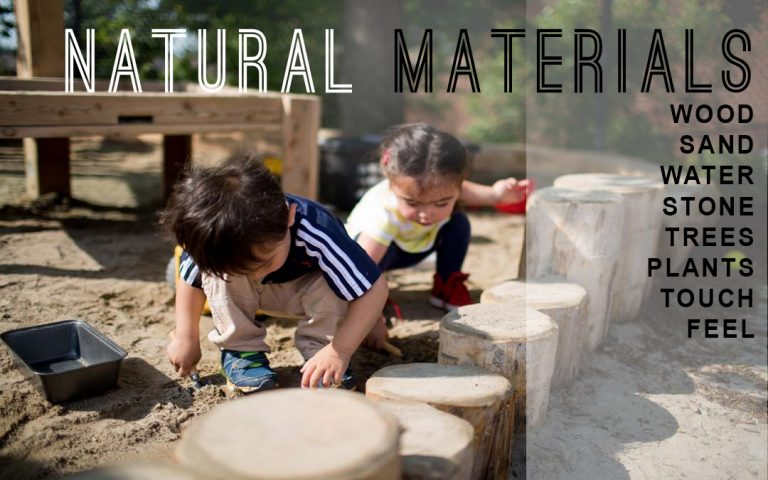five elements of play natural materials child care centre