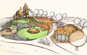 Wanuskewin playground sketch plan wood theme