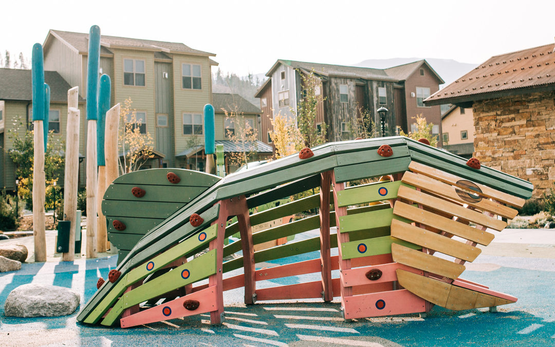 Breckenridge Colorado trout wood climbing sculpture natural playground