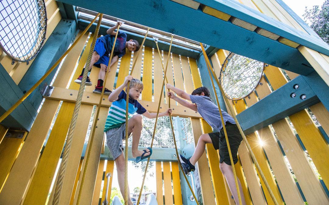 marine themed destination playground lifeguard tower ropes climbing
