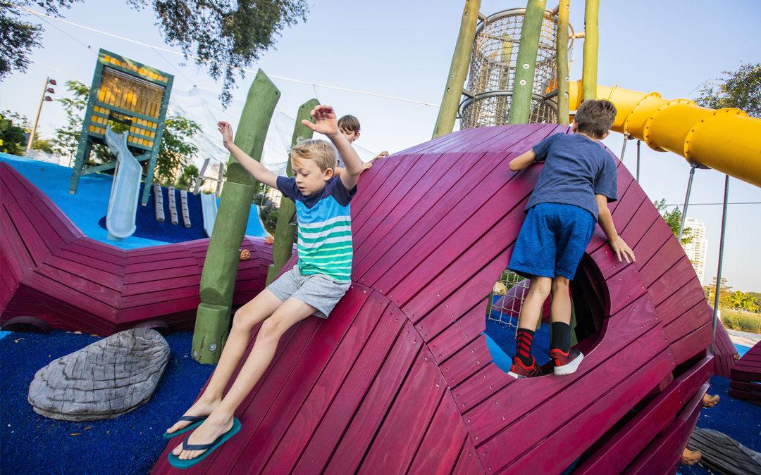 St. Pete Pier marine playground kraken sculpture log tower slides non prescriptive play