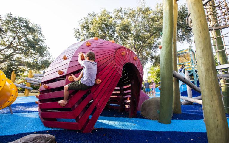 St. Pete Pier robinia log tower net climbing kraken accoya sculpture