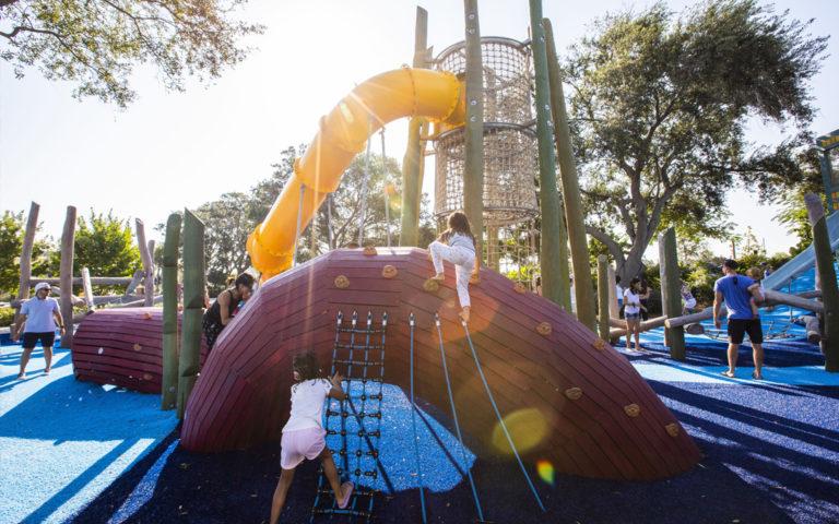 St. Petersburg Florida destination playground kraken sculpture log tower nets climbing