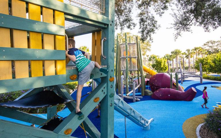 St. Petersburg Florida marine playground lifeguard tower slides kraken sculpture log tower