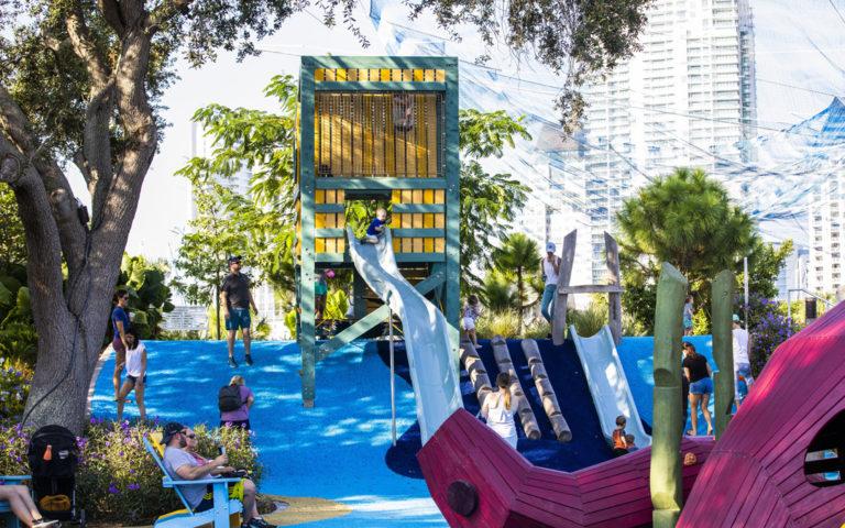 St. Petersburg Pier destination playground lifeguard tower slides notched logs