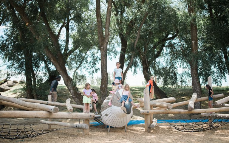 bozeman montana wood playground osprey bird sculpture local fauna nets climbing risky play