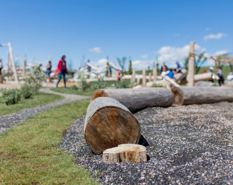 Closeup of wooden logs at an Earthscape playground