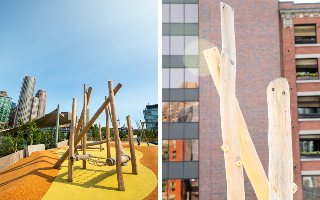 martin's park boston childrens museum natural robinia log climber climbing holds nets accessible play
