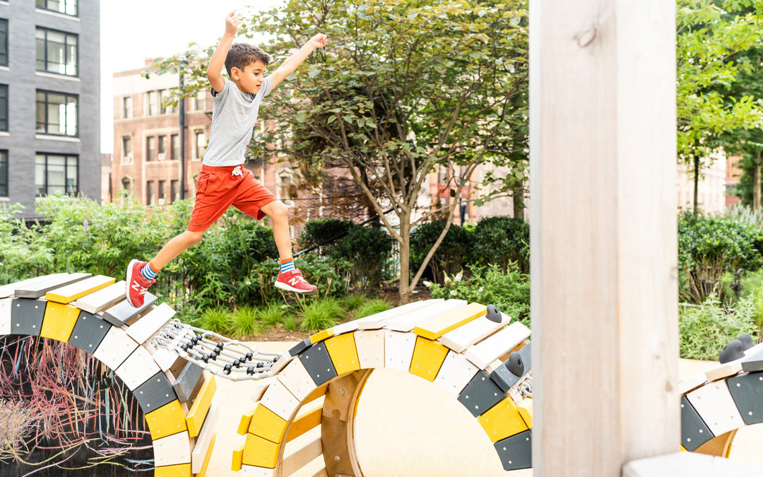 Brooklyn New York natural playground caterpillar climber wood