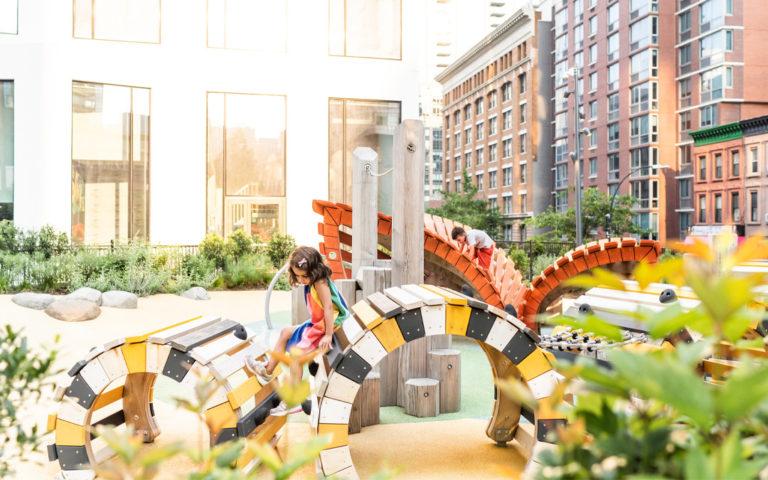 New York city custom nature themed playground caterpillar butterfly climbers