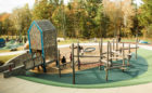 Carroll Joyner Park playground natural log climber nets ropes tower bridge slides