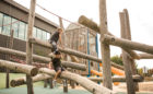 Joyner park wake forest NC natural playground log climber ropes high challenge