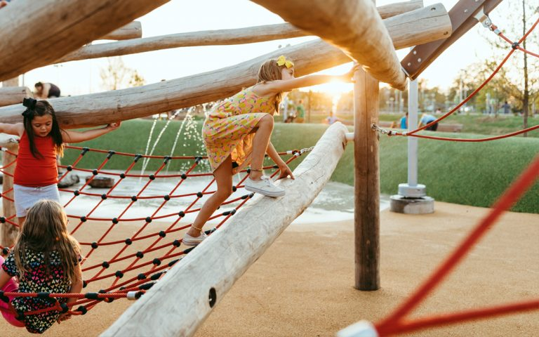 log jam climber with net at scissortail park in oklahoma city