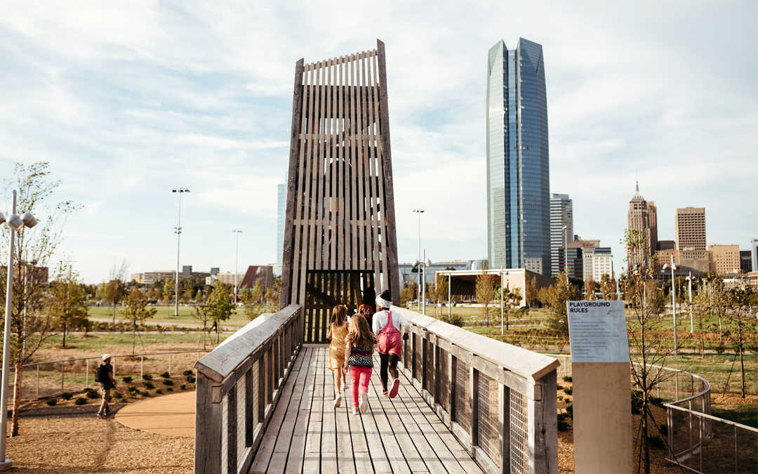 bridge to play tower architecture scissortail park in oklahoma city