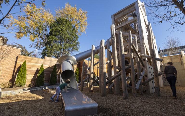 GDS private school adventure senior towers natural wood playground tube slide robinia climber