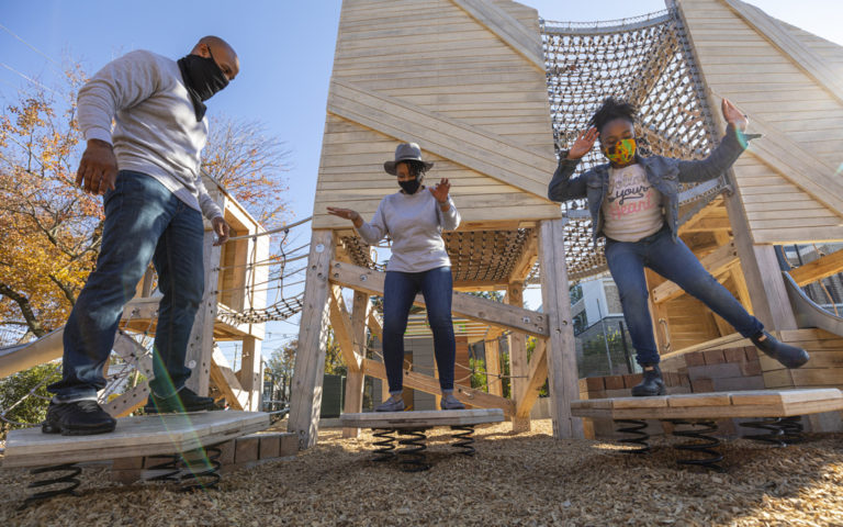 GDS private school natural playground towers wobble boards rocking springs