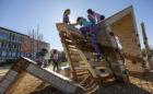 GDS private school rock outcrop sculpture high challenge net climbing