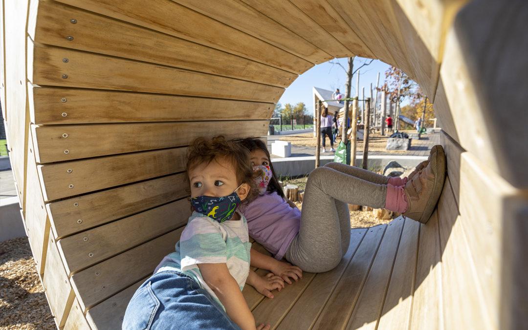 GDS private school Washington grasshopper sculpture tunnel natural wood playground