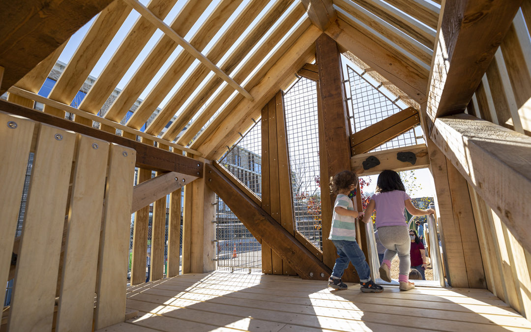 Georgetown Day private school junior tower playground branches natural wood