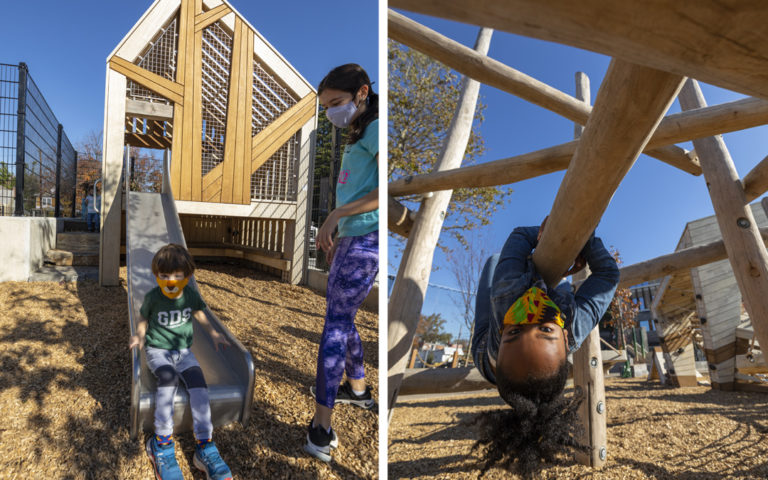 Georgetown Day School natural wood playground junior treehouse tower slide robinia log climber