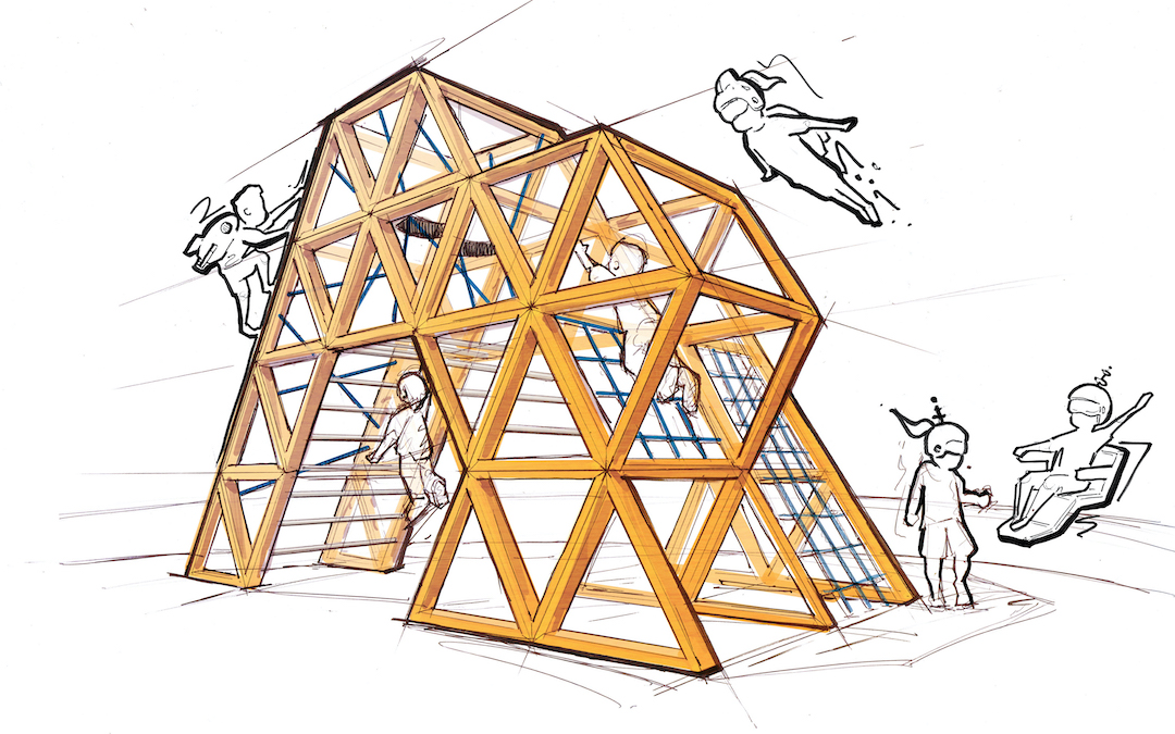 Tessellation playground of the future with jet pack kids flying by