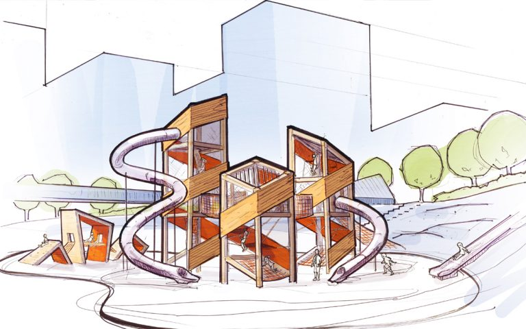 custom wood playground conceptual sketch design vancouver canada architecture abstract climbing slides smithe and richards park