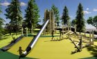 california custom natural playground wood logs climbing stainless steel tube slides nets ropes