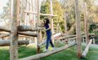 California natural playground custom spiral log jam tower adventure