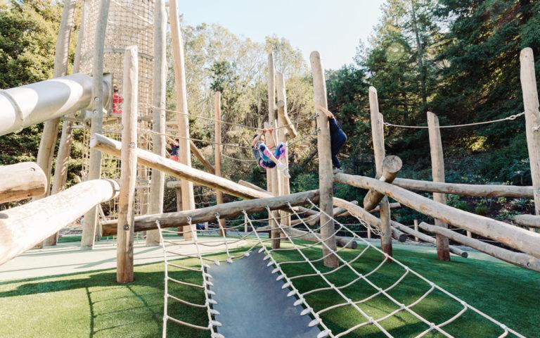 California natural playground redwood grove park net log climber landform play
