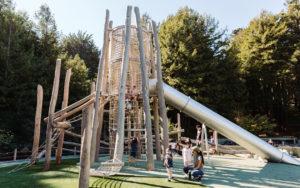California wood playground log tower tube slide high challenge non prescriptive play