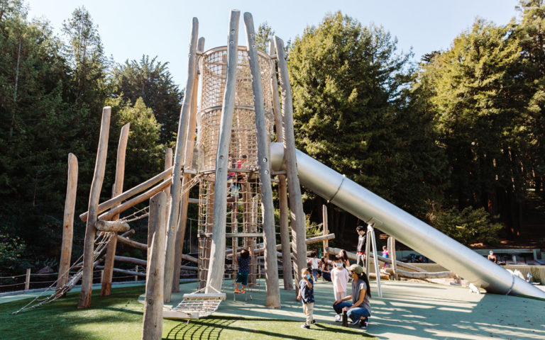 California wood playground log tower tube slide high challenge non prescriptive play