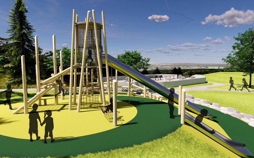 mclaren park custom natural wood playground risky play log climbers tower slides