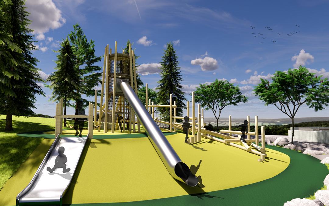 mclaren park san francisco natural playground log tower tube slide