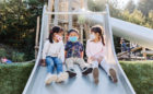 Redwood Grove natural wood playground log tower slides