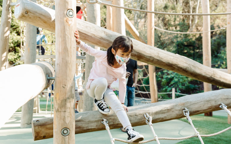 Redwood Grove park natural wood robinia log playground climber ropes nets