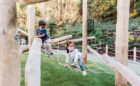 Redwood Grove wood playground robinia logs climber nets ropes artificial turf